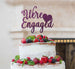 We're Engaged with Heart Cake Topper Glitter Card Dark Purple