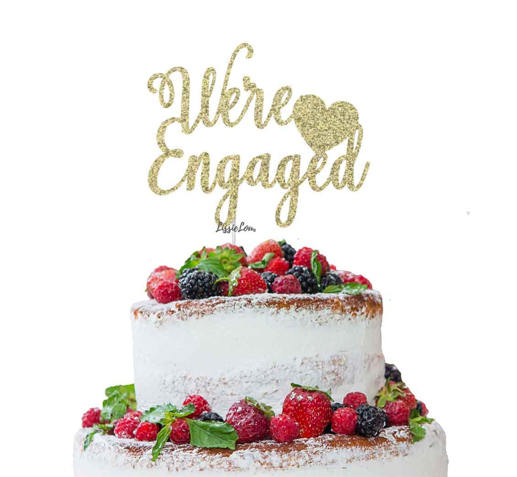 We're Engaged with Heart Cake Topper Glitter Card Gold