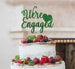 We're Engaged with Heart Cake Topper Glitter Card Green