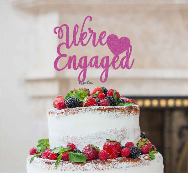 We're Engaged with Heart Cake Topper Glitter Card Hot Pink