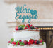 We're Engaged with Heart Cake Topper Glitter Card Light Blue