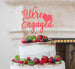 We're Engaged with Heart Cake Topper Glitter Card Light Pink