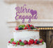 We're Engaged with Heart Cake Topper Glitter Card Light Purple