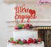 We're Engaged with Heart Cake Topper Glitter Card Red