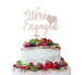 We're Engaged with Heart Cake Topper Glitter Card White