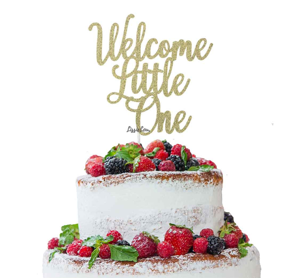 Welcome Little One Baby Shower Cake Topper Glitter Card Gold