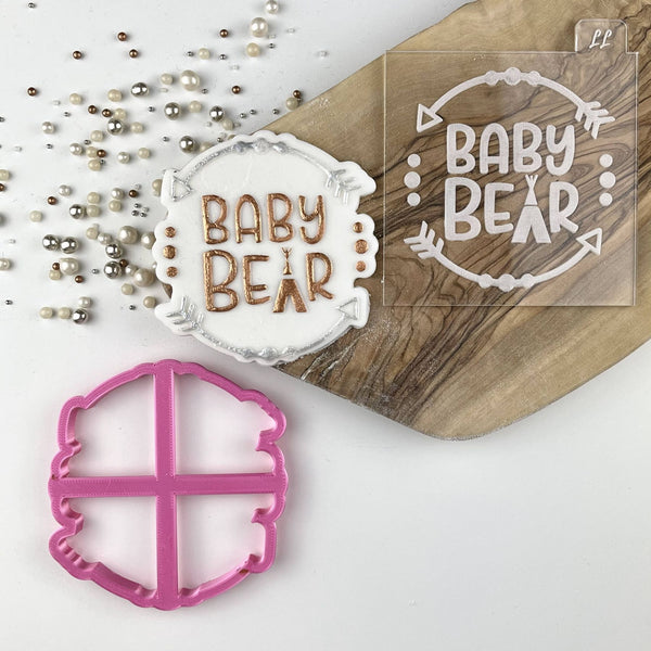 Wild One Style Baby Bear Baby Shower Cookie Cutter and Embosser