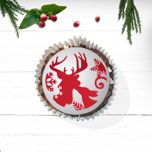 Winter Stags Cupcake Stencil - Cupcake Size Design