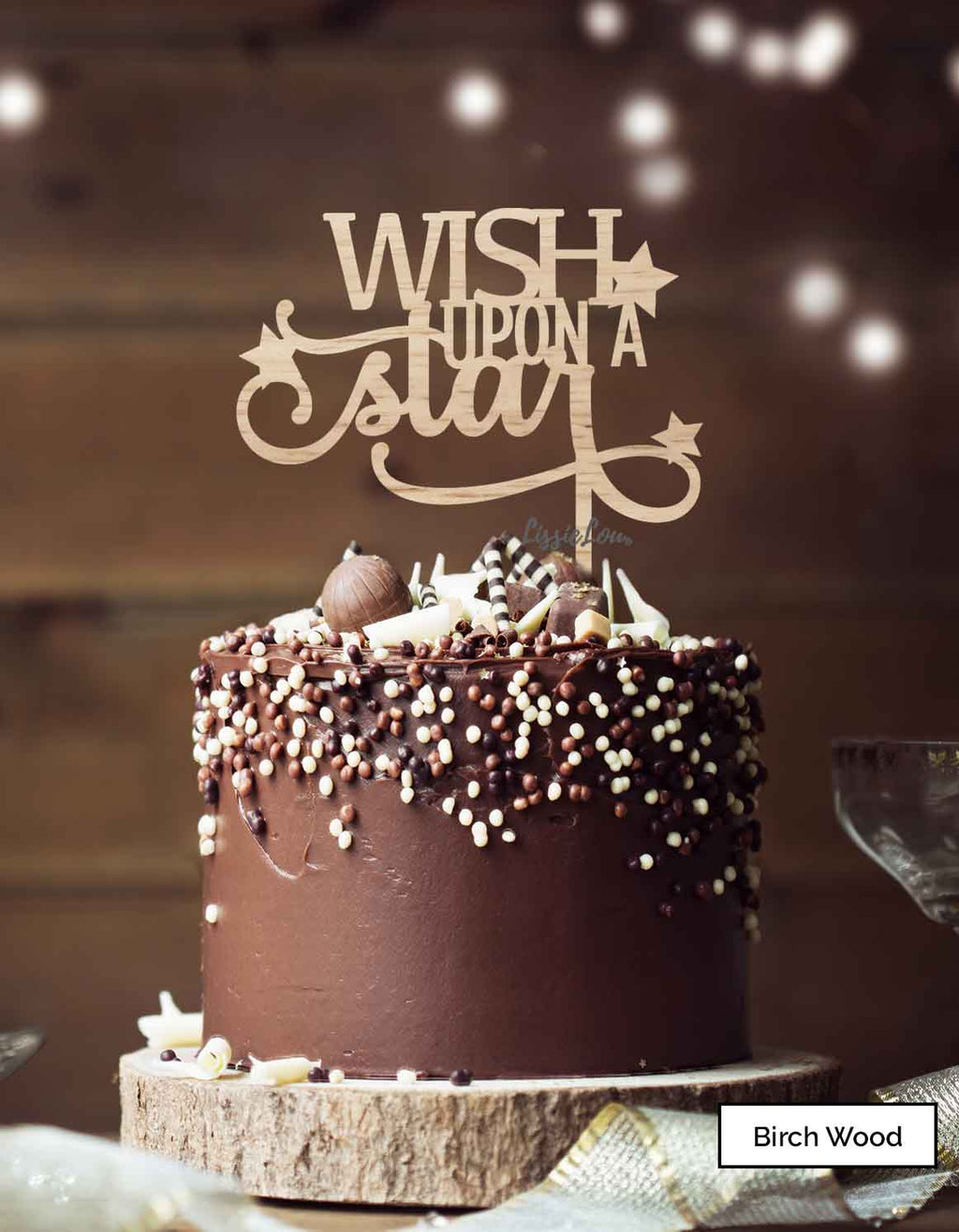 Wish Upon A Star Christmas Cake Topper Premium 3mm Birch Wood