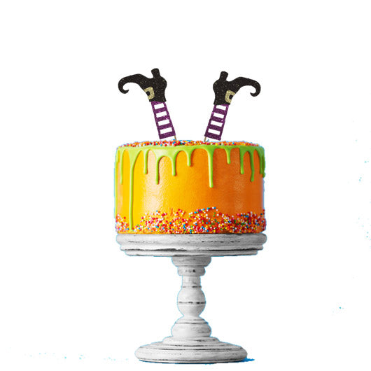Halloween Witches Legs Glitter Cake Topper