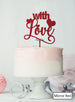 With Love Wedding Valentine's Cake Topper Premium 3mm Acrylic Mirror Red