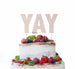 YAY Letter Cake Topper Glitter Card White