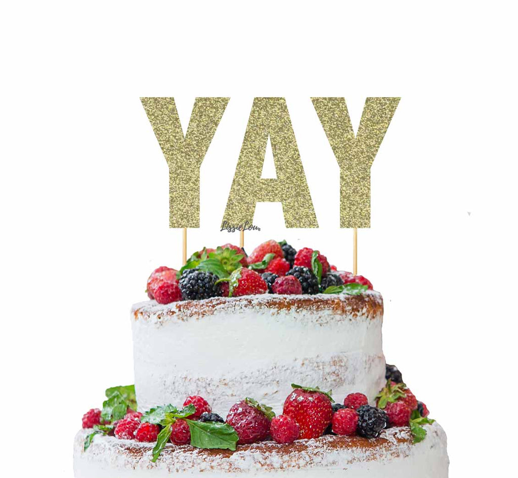 YAY Letter Cake Topper Glitter Card Gold