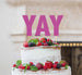YAY Letter Cake Topper Glitter Card Hot Pink