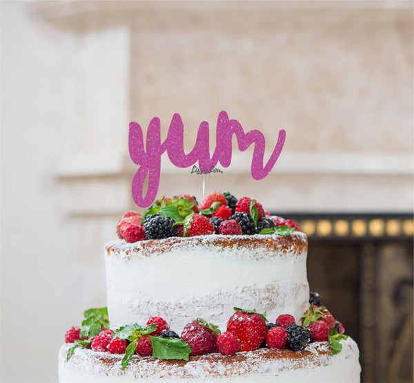 Yum Cake Topper Glitter Card Hot Pink