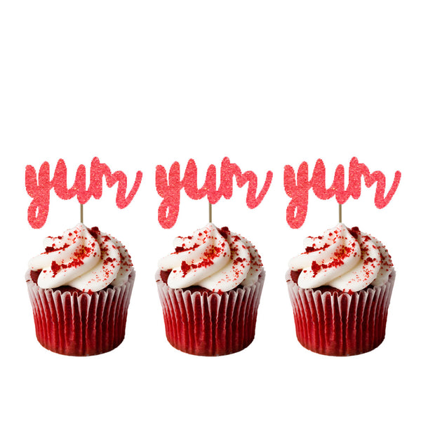 Yum Glitter Cupcake Toppers Light Pink