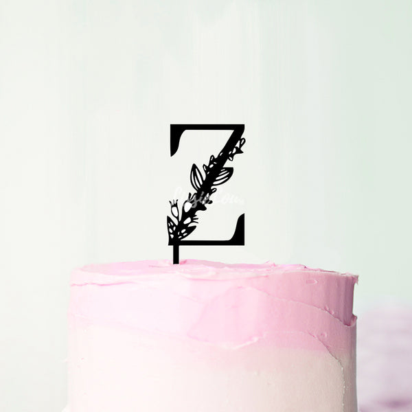 Wedding Floral Initial Letter Z Style Cake Topper