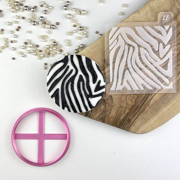 Zebra Animal Print Texture Tile Jungle Cookie Cutter and Embosser