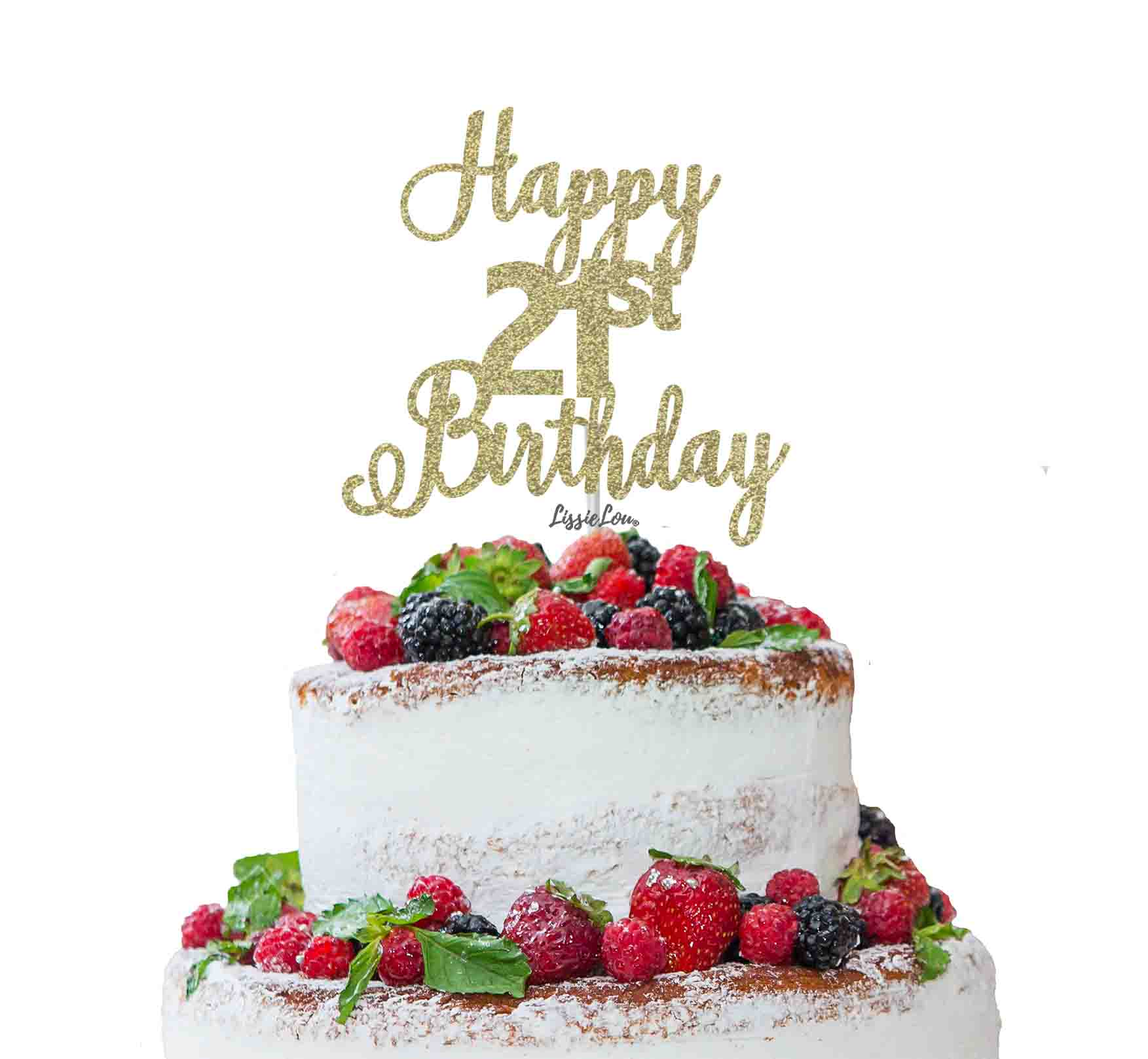 Fantastic Happy 21St Birthday Pretty Cake Topper Glitter Card Lissielou Funny Birthday Cards Online Alyptdamsfinfo