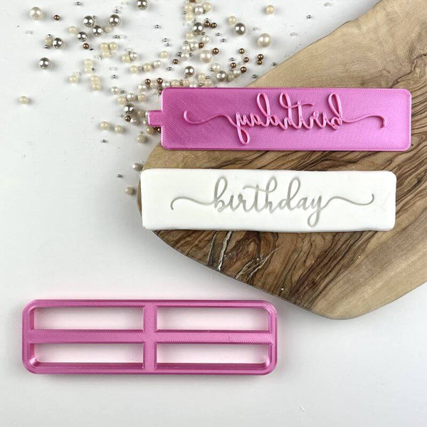 Birthday in Verity Font Cookie Cutter and Stamp