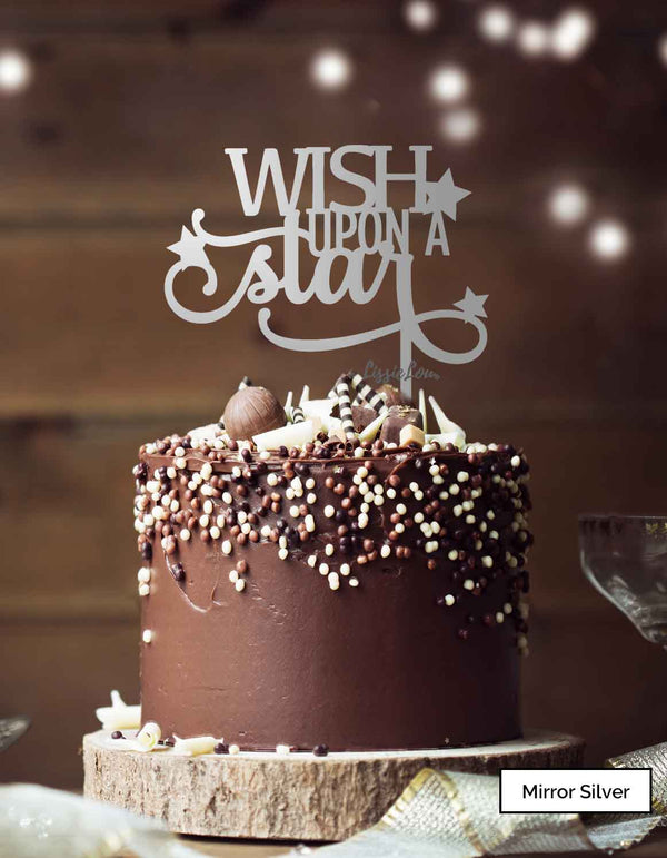 Wish Upon A Star Christmas Cake Topper Premium 3mm Acrylic Mirror Silver