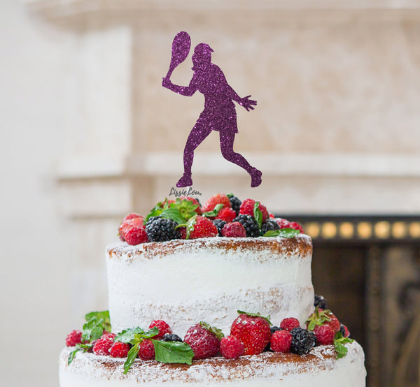 Tennis Female Cake Topper Glitter Card Dark Purple
