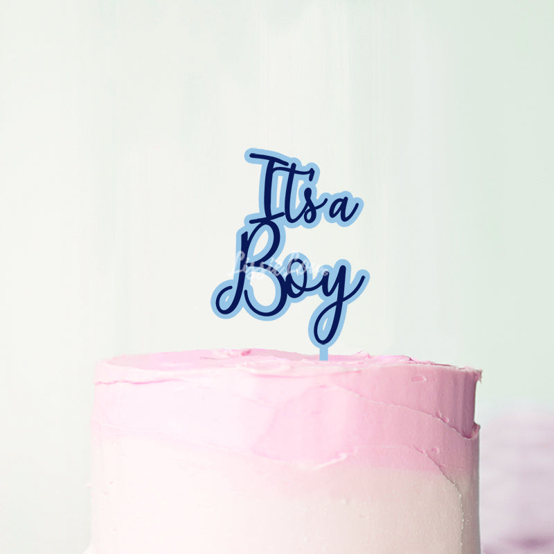 It's A Boy Double Layer Ilesha Font Cake Topper Premium 3mm Acrylic or Birch Wood