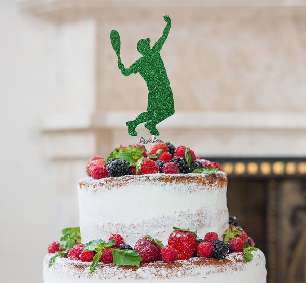 Tennis Male Cake Topper Glitter Card Green