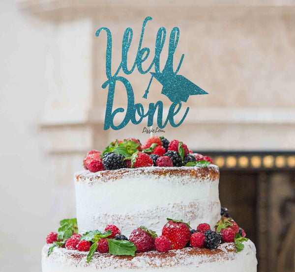 Well Done with Grad Hat Cake Topper Glitter Card Light Blue