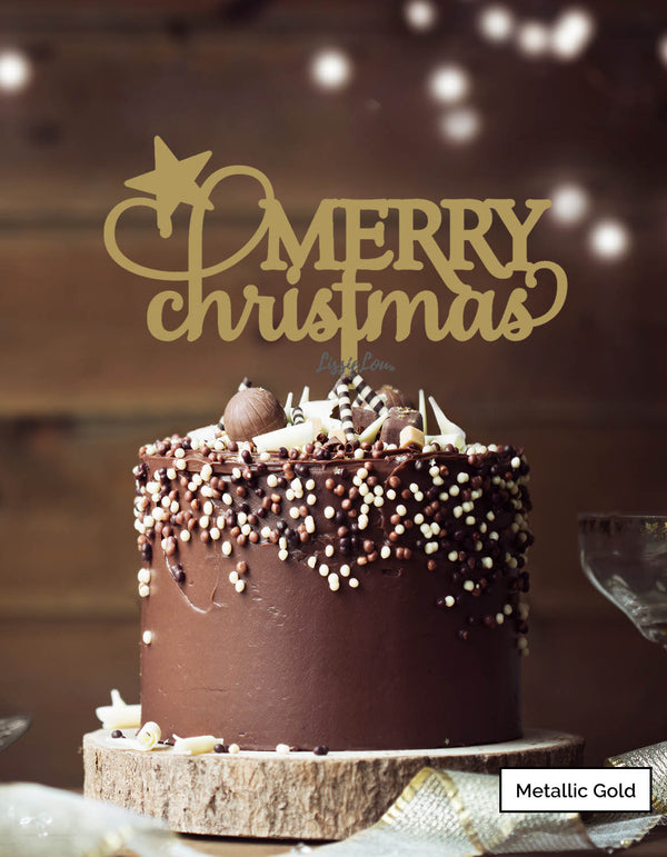 Merry Christmas Star Cake Topper Premium 3mm Acrylic Metallic Gold