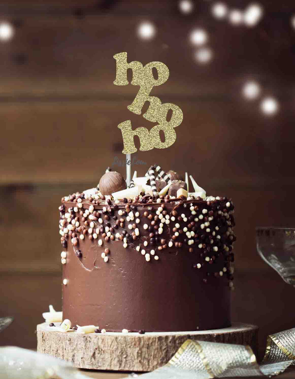 hohoho Christmas Cake Topper Glitter Card Gold