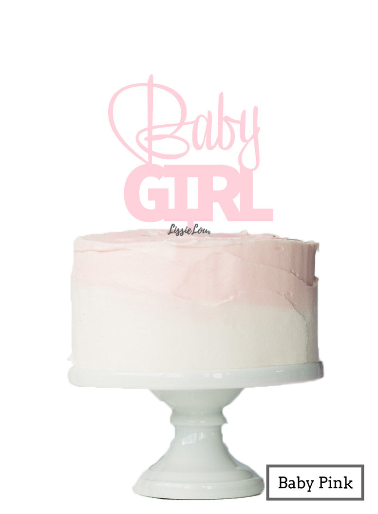Baby Girl Baby Shower Cake Topper Premium 3mm Acrylic Baby Pink