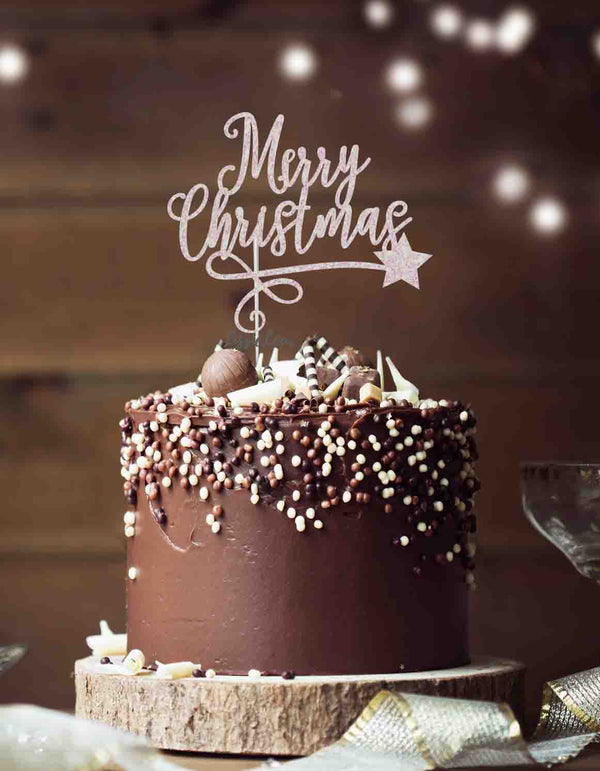 Merry Christmas with Swirl and Star Cake Topper Glitter Card White