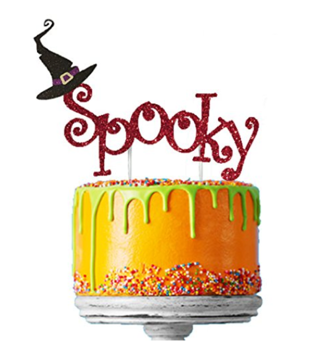 Spooky with Witches Hat Halloween Cake Topper Glitter Card Red