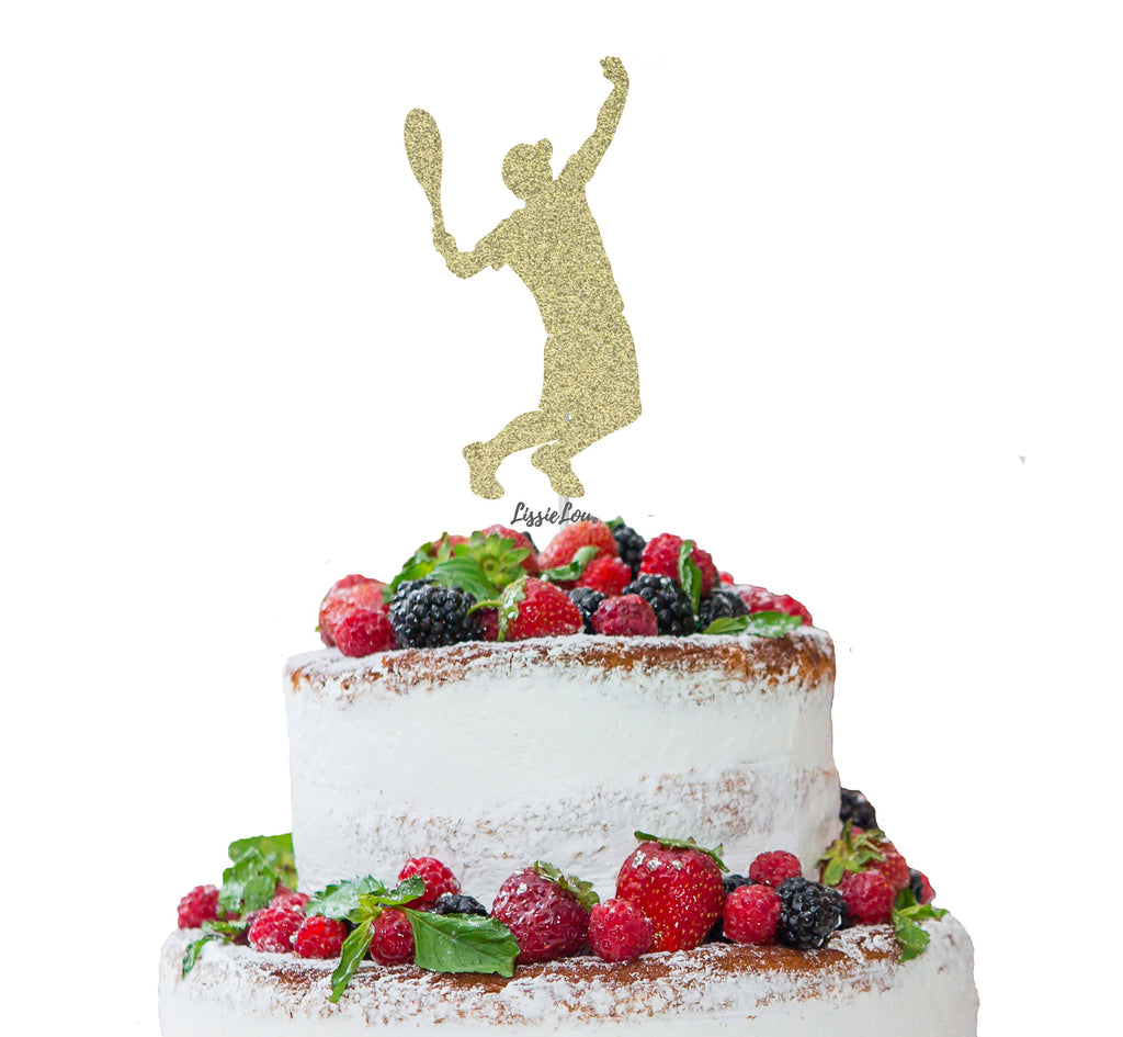 Tennis Male Cake Topper Glitter Card Gold