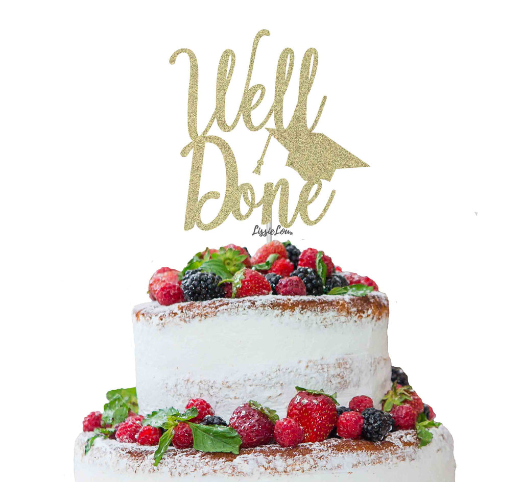 Well Done with Grad Hat Cake Topper Glitter Card Gold