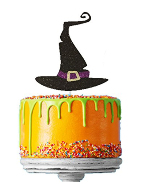 Witches Hat Halloween Cake Topper Glitter Card Black