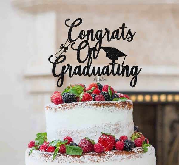 Congrats on Graduating Cake Topper Glitter Card Black