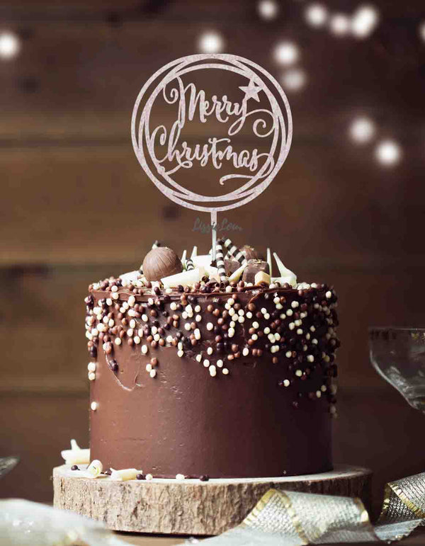 Merry Christmas Circle Cake Topper Glitter Card White