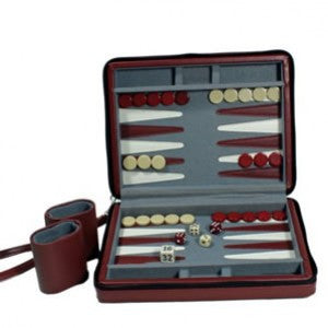 "9"" BURGANDY MAGNETIC TRAVEL BACKGAMMON"