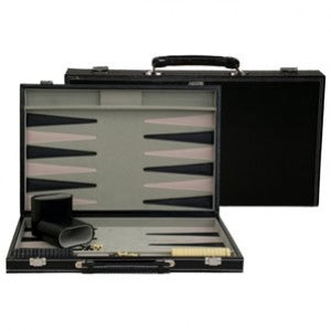 "18"" BLACK LEATHERETTE BACKGAMMON"