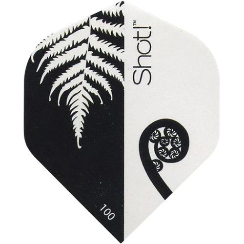 SHOT POLY 100-MICRON STANDARD DART FLIGHTS - BLACK AND WHITE FERN