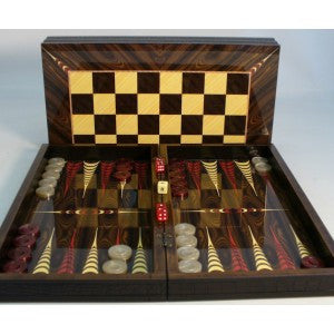 "19"" ELEGANT DECOUPAGE WOOD BACKGAMMON"