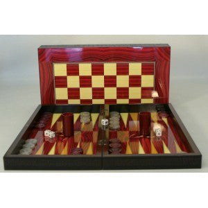 "19"" RED GRAIN DECOUPAGE BACKGAMMON"
