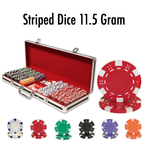 500 Ct - Striped Dice 11.5 G - Black Aluminum