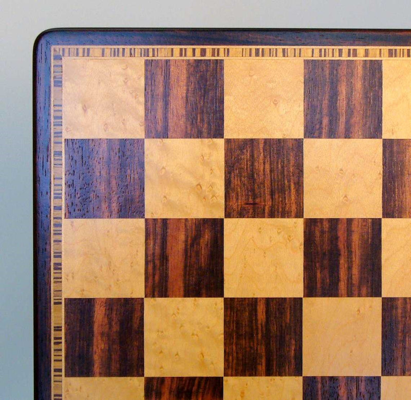 Ebony & Birdseye Maple Veneer Chess Board with Beveled Edge
