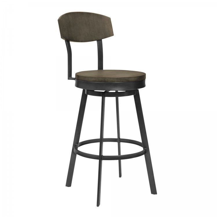 Conway Bar Height Barstool in Mineral Finish and Grey Walnut Seat