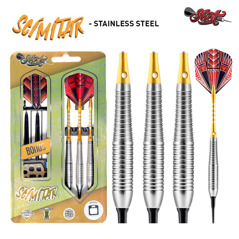 SCIMITAR SOFT TIP 18 GRAM DART SET - STAINLESS STEEL BARRELS