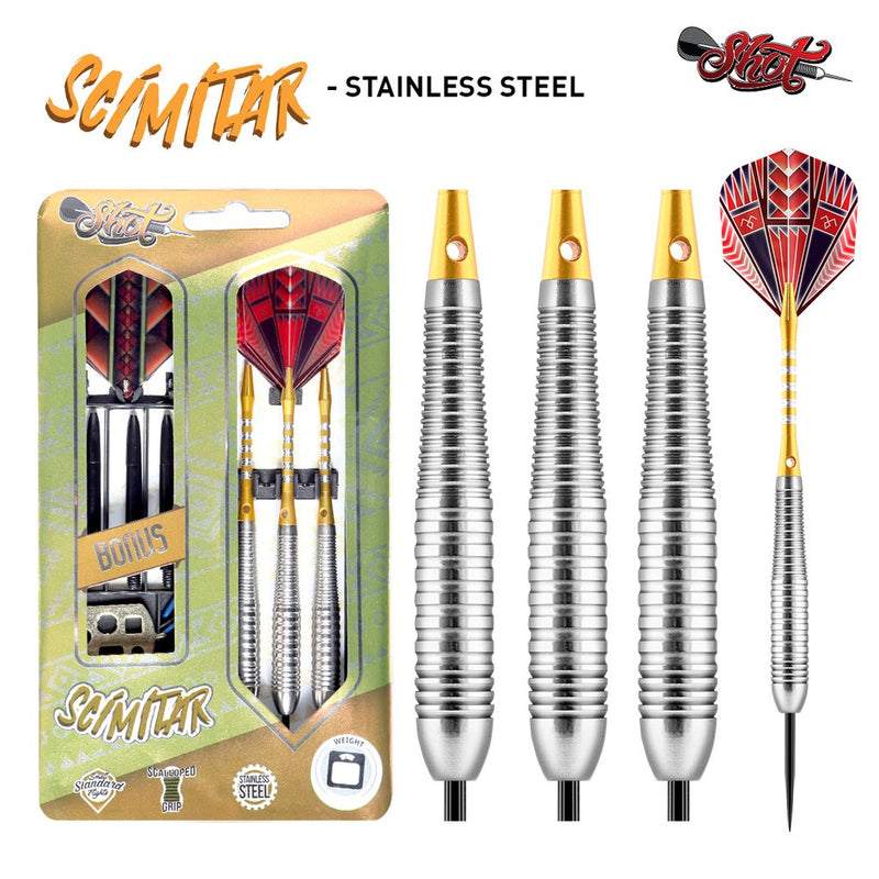 SCIMITAR STEEL TIP 24 GRAM DART SET - STAINLESS STEEL BARRELS