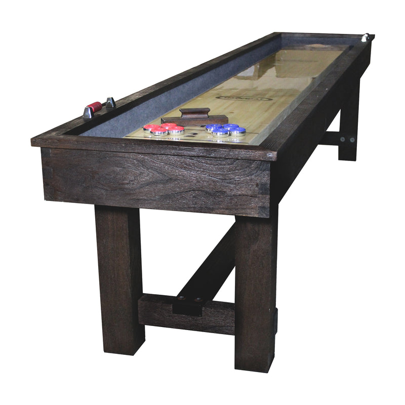 RENO 9-FT. SHUFFLEBOARD TABLE; WEATHERED DARK CHESTNUT